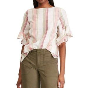 Chaps Plus Size Pink Striped Ruffle Sleeve Top